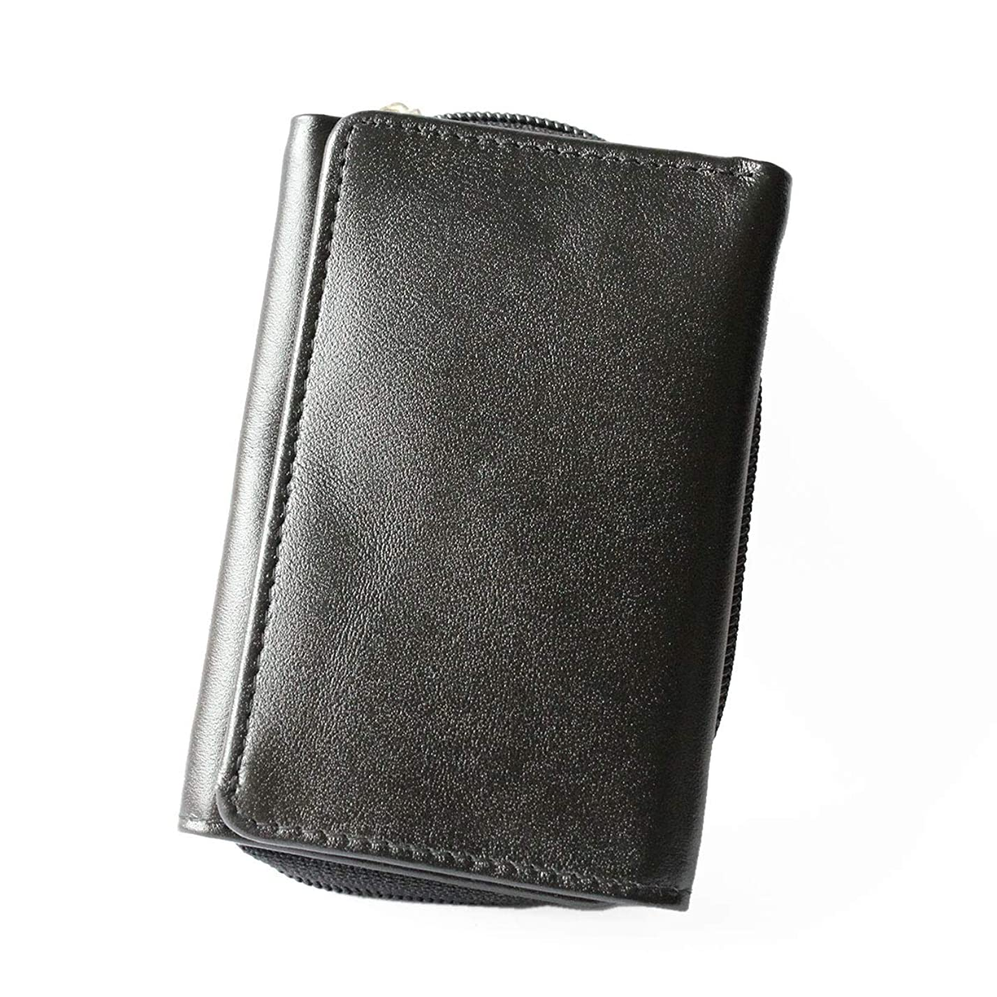 マインドフル湿気の多い療法レザーウォレット 財布 本革 スムースレザー 3つ折り ラウンドファスナー 小銭入れ