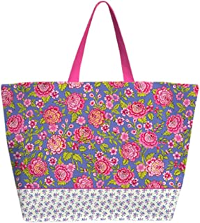 TokyoMilk Large Tote Bag With Zipper, Assorted Patterns Pink 16LT6