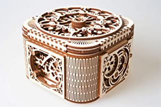 UGEARS Treasure Box Wooden 3D Mechanical Puzzle, 3d Puzzle For Adults, Brain Teaser, Self Assemble Engineering Toys, New Model