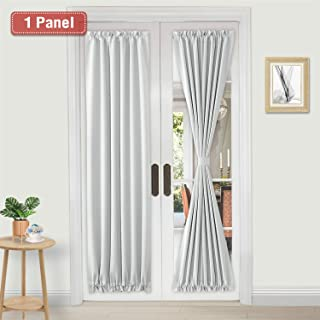 DWCN French Door Curtains – Rod Pocket Thermal Blackout Curtain for Doors with Glass Window, Kitchen and Patio Doors for Privacy, 25 X 72 Inches Long, 1 Curtain Panel with Tieback, White
