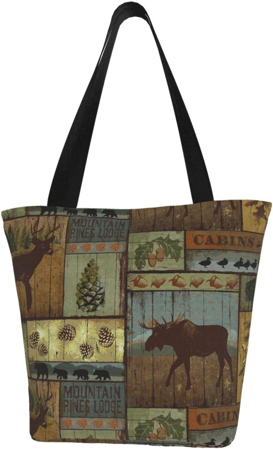 Translated AKLID Rustic Lodge Bear Moose Canvas low-pricing Resistant Water Large Extra