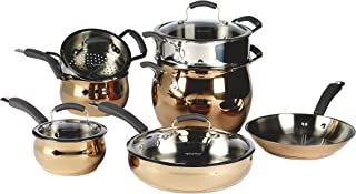 Epicurious Nonstick Aluminum Hard Anodized Stainless Steel Heavy Gauge Nonstick Induction Ready Dishwasher Safe Oven Safe Cookware Pots Pans Steamer Stock Pot, 11 Piece Rose Gold Stainless Steel Set