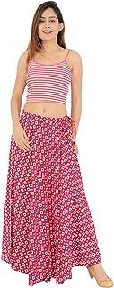 Rayon Printed Long Skirt Pink