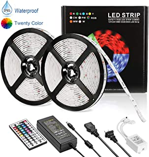YUVEYI Led Strip Lights,Waterproof Flexible 32.8ft 10m RGB 600LED Light Strip 5050 Led Color Changing Decoration Lighting 44 Keys IR Remote Controller + UL Power Supply Adapter