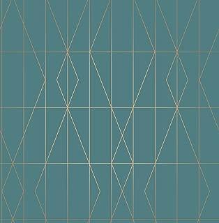 Brewster UW24786 Leveque Teal Deco Diamond Geo Wallpaper