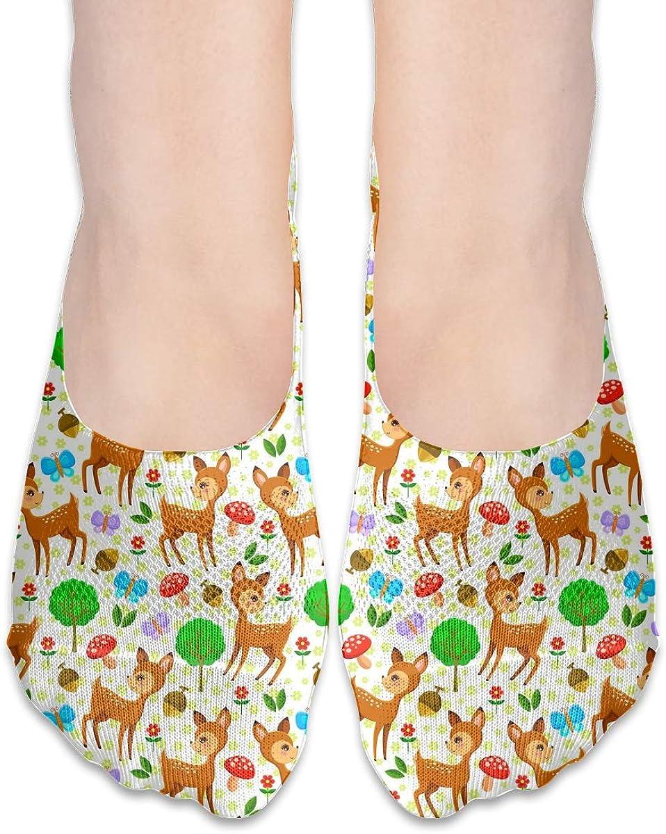 No Show Socks Women Men For Kawaii Cute Baby Deer Flats Cotton Ultra Low Cut Liner Socks Non Slip