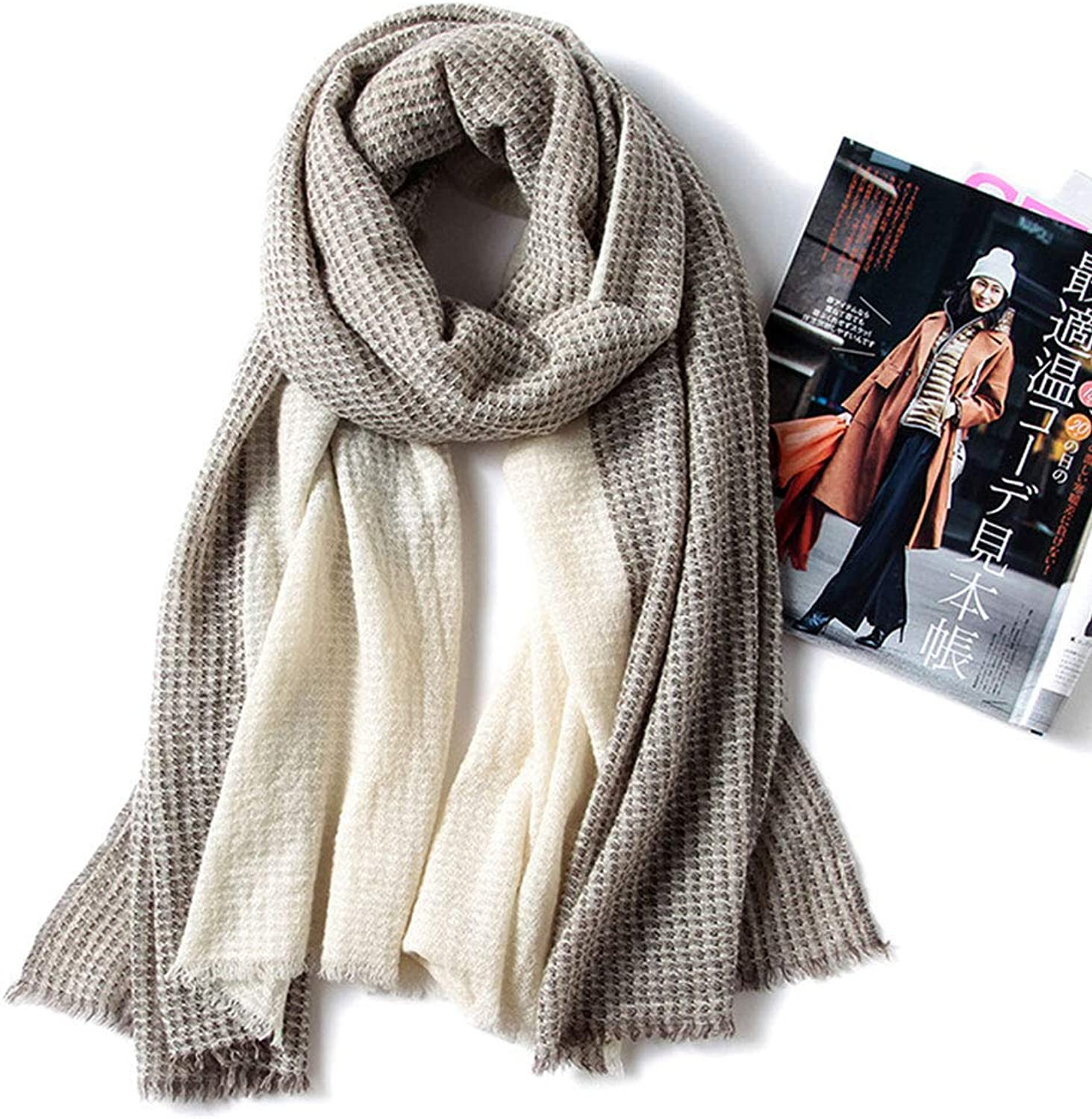 HUIFANG New Spring and Autumn Winter Warm White Cashmere Classic Double Shawl Oversized Ladies Long Section 70  200CM A (color   Brown, Size   100  210CM)