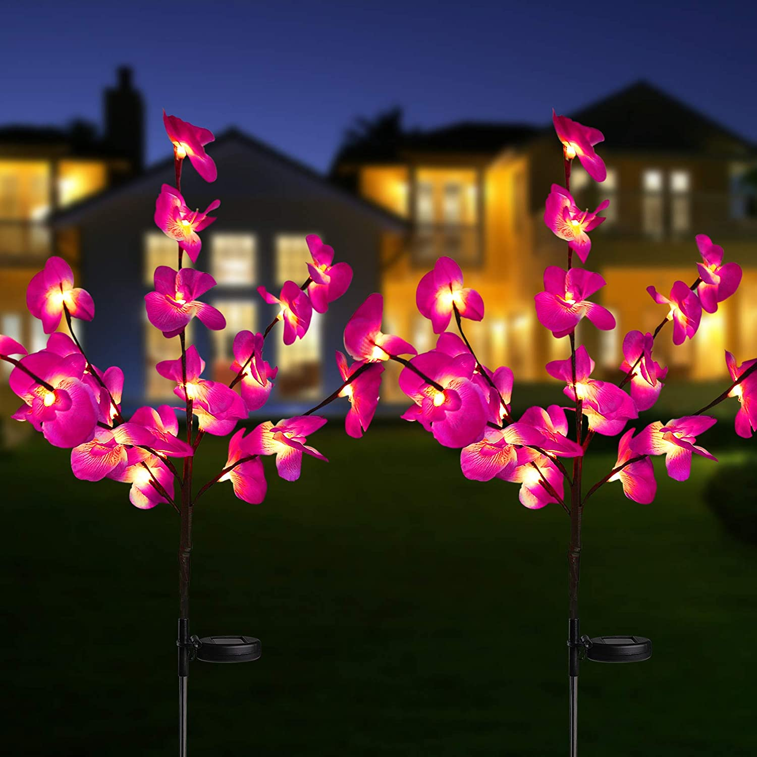Solar Garden Flower Lights Waterproof A surprise price is realized outlet Upgraded Lig Orchid