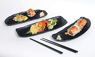 مجموعة Hinomaru مجموعة السوشي 5 قطع غير لامعة الأسود ميلامين طبق السوشي صينية تقديم الطعام مجموعة أواني السوشي لشخصين