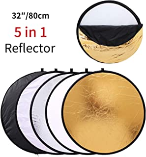 MOUNTDOG 32''/80cm Light Reflector Studio Diffuser Kit Collapsible 5-in-1 Multi Disc with Carrying Bag for Photography Portrait Outdoor Lighting Filming Shooting