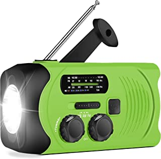 [Upgraded Version] RunningSnail Emergency Weather AM/FM NOAA Solar Powered Wind up Radio with SOS, 2000mAh Power Bank for Cell Phone and LED Flashligh(Green)