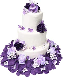 TheBridesBouquet.com Wedding Cake Topper | Purple and Lavender Wedding Decorations for Reception | Artificial Flowers