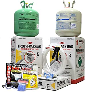 Dow Froth Pak 650, Spray Foam Insulation Kit, Class A fire Rated, Closed Cell Foam, Covers 650 sq ft (1 inch Thick) with Personal Protection Kit (Respirator, Goggles, Gloves & Tyvek Suit)