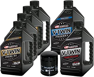 MaximaHiflofiltro VTTOCK21 Complete Engine Oil Change Kit for V-Twin Synthetic Blend Harley Davidson Twin Cam, 6 Quart