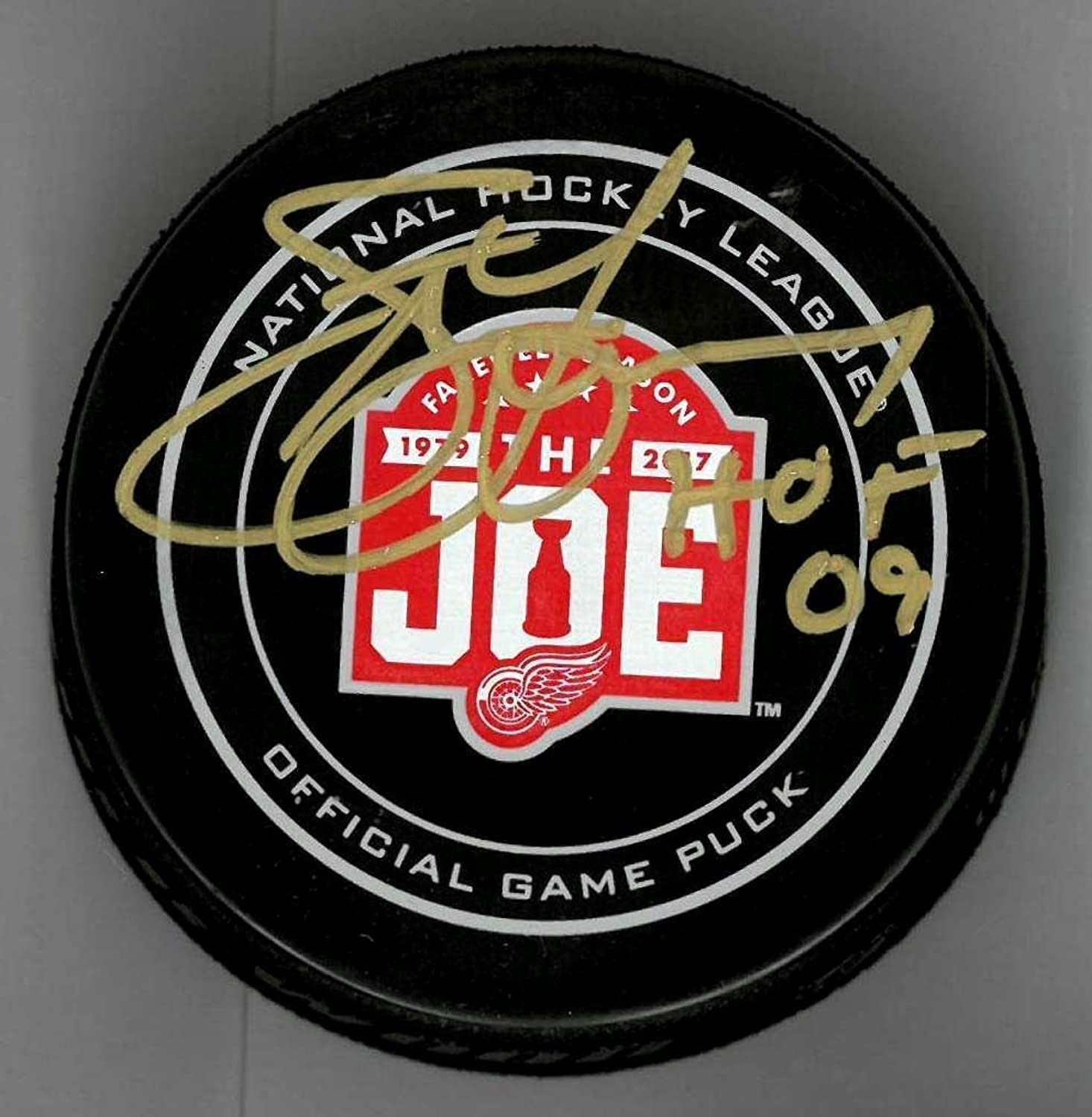 Steve Yzerman Autographed Farewell to The Joe Official Game Puck Inscribed HOF 09  Autographed NHL Pucks