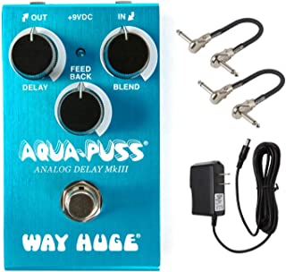 Way Huge WM71 Aqua-Puss Analog Delay Effects Pedal Bundle with 2 MXR Patch Cables and Power Supply