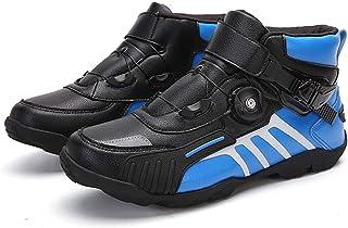 Sebasty Rote Motorradstiefel, Biker Motocross Schuhe, Reitstiefel, Motorrad Biker Breathable Ankle Shoes Men,BlackBlue48