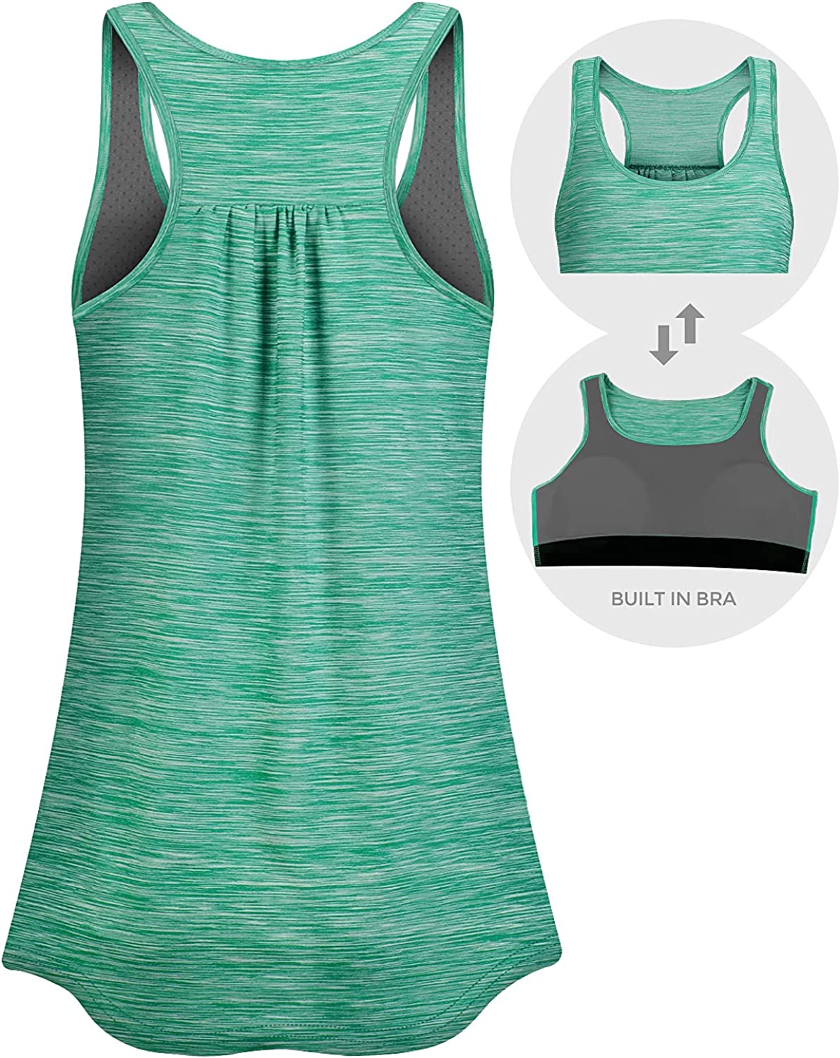 Tanst Sky Women's Tank Top Built in Bra with Removable Pads Workout Tops Sleeveless Racerback Activewear: Clothing