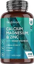 Calcium, Magnésium, Zinc, Vitamine D - 400 Comprimés (+ d'1 an) WeightWorld - Version 2021 | Complément Alimentaire Vitamines et Minéraux avec de la Vitamine K (MK7), Cuivre, Sélénium, Bore