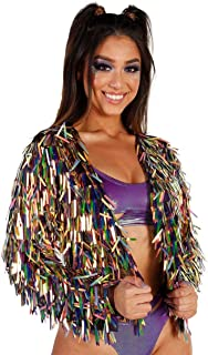 iHeartRaves Women's Sparkle Holographic Bomber Zip-up Jacket Coat