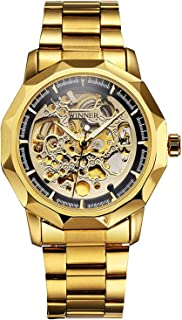Skeleton Dress Analog Watch for Unisex Mechanical Wrist Watch Gold Plated Steel Band Waterproof Watches