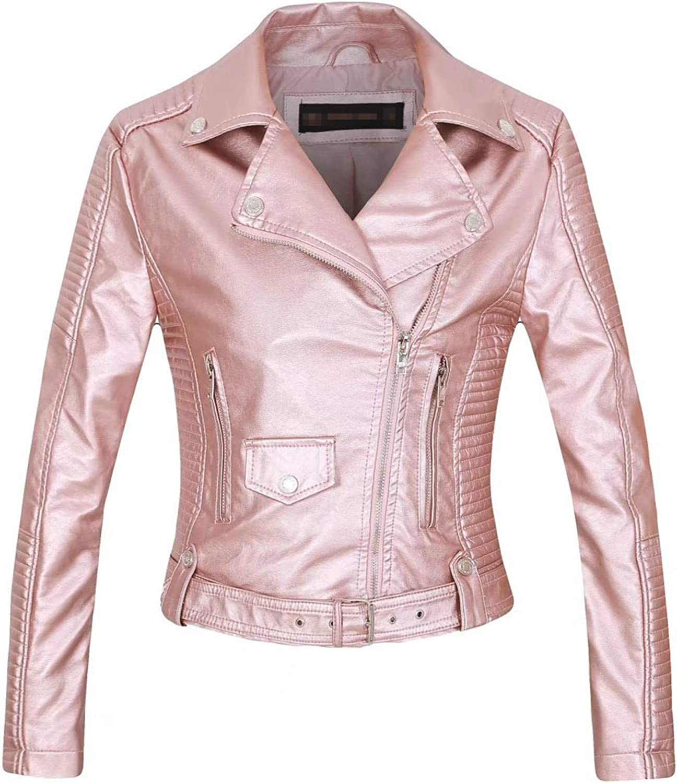 Yiqinyuan Faux Leather PU Jacket Women Spring Autumn Fashion Motorcycle Jacket Black Leather Coats Outerwear Coat Black M