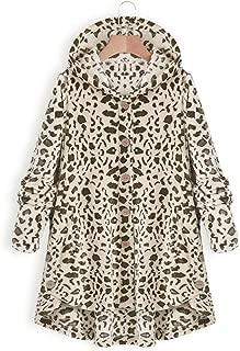 LITTLE TREE-AU Leopard Coat Women, Women''s Fashion Long Sleeve Open Front Hooded Cardigan Oversized Fleece Coat Jacket Asymmetrical Hem Button Warm Winter (White)