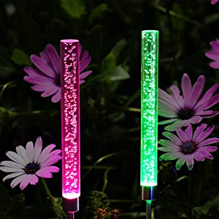 Abkshine 2 Set RGB Color Changing LED Solar Tube Stake Lights, Multi-Colored Solar Powered LED Garden Stick Lights for Christmas Outdoor Path Patio Back Yard Summer Addition(Extra Large Tube)