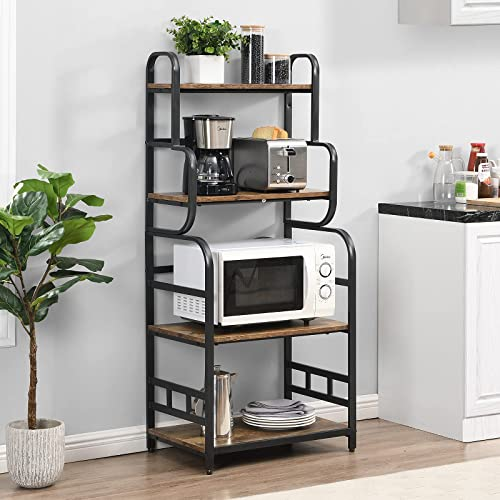 """high quality O&K Furniture 4-Tier Baker's Rack, Small Kitchen Storage Shelf, Microwave Oven Stand, Standing Spice Rack, Kitchen Organizer --- Vintage high quality Brown Finish, 23.6""""W x 15.7""""D wholesale x 54""""H outlet sale"""