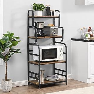 O&K Furniture 4-Tier Baker's Rack, Small Kitchen Storage Shelf, Microwave Oven Stand, Standing Spice Rack, Kitchen Organiz...