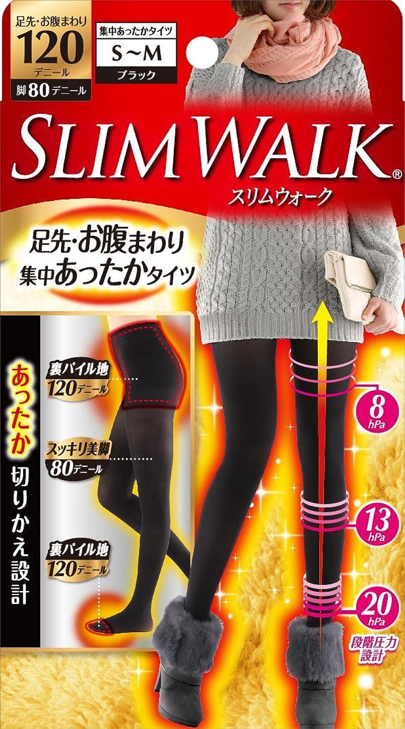 計算ヒゲクジラ段階スリムウォーク 足先?お腹まわり 集中あったかタイツ 脚部分80デニール S-Mサイズ ブラック