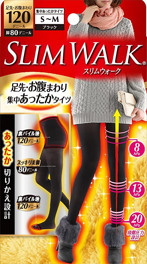 めったに内部キャンバススリムウォーク 足先?お腹まわり 集中あったかタイツ 脚部分80デニール S-Mサイズ ブラック