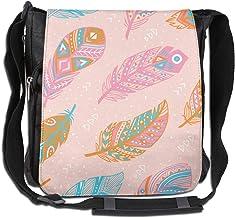 Doinh Messenger-Tasche aus Segeltuch, gesteigte Schultertasche, für Damen und Herren, Blau/Rosa/Orange
