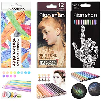 36 Count Colored Pencils Set - Professional Artist Colored Pencil Kit with 12 Metallic, 12 Macaron Color, 12 Skin Tones Pre-sharpened Colored Pencils for Adults Coloring Books Drawing Sketching