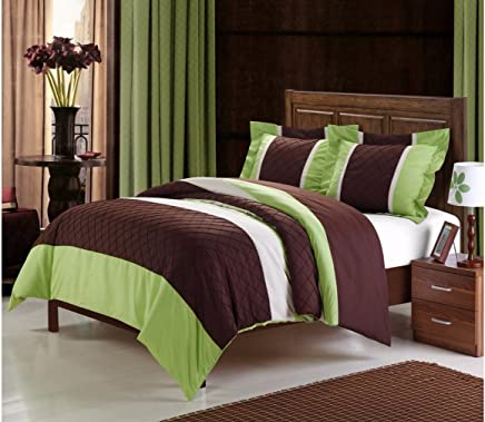 featured product Chic Home 3-Piece Marlene Duvet Cover Set,  Queen,  Green/Brown