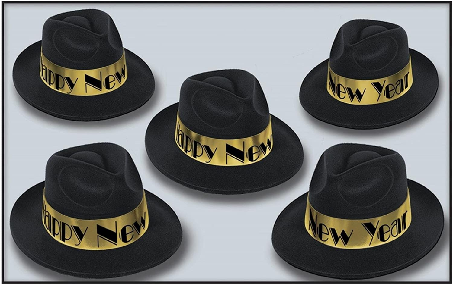 Club Pack of 25 Swing gold Fedora Happy New Years  Legacy Party Favor Hats