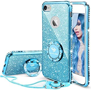 Cute iPhone 6s Case, Cute iPhone 6 Case, Glitter Bling Diamond Rhinestone Bumper with Ring Grip Kickstand Protective Thin Girly iPhone 6s Case/iPhone 6 Case for Women Girl - Blue