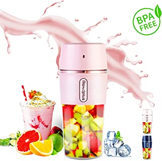 Portable Blender for Shakes and Smoothies,ARTSUN Smoothie Mixer Mini Small Travel Blender with Personal Juicer Cup Blender USB Rechargeable, BPA Free,IP68 Waterproof,10.5oz (PINK)