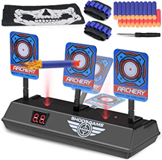 Vimpro Electric Scoring Target, Electric Scoring Auto Reset Shooting Digital Target Toys with 40 Pcs Refill Darts 2 Hand Wrist Bands and 1 Skull Mask Ideal Gift Toy for Kids-Boys & Girls