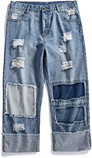 Men's Street Hip Hop Loose Straight Distressed Ripped Patchwork Skateboard Denim
