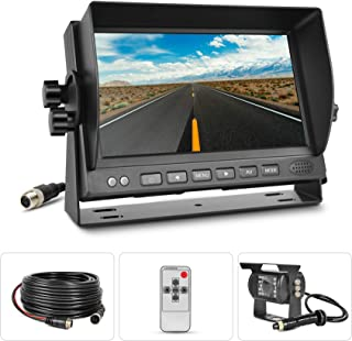 Backup Camera for Trucks with Monitor,7'' Reversing Monitor with Rear View Camera, 140 ° Wide Angle, 18 IR Night Vision,IP68 Waterproof for Trucks,RVs,Trailers,Bus,Vans,Large Vehicles.