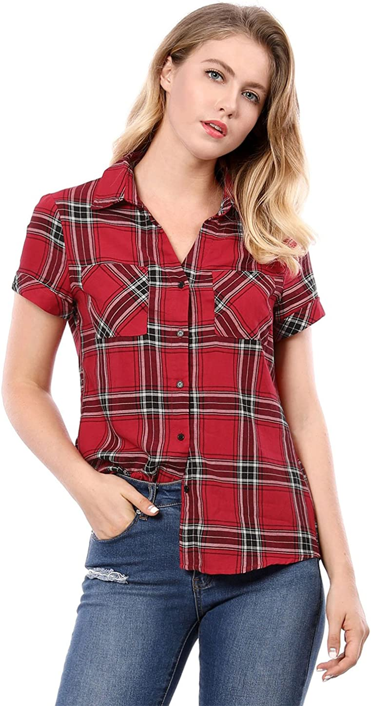 Allegra K Women's Cotton Classic Button Down Western Plaid Shirt
