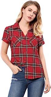 Allegra K Women's Flannel Back to Button Down Western Plaid Shirt