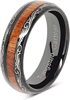 6mm Mens Womens Black Wedding Bands Tungsten Ring Koa Wood Inlaid Silver Scroll Comfort Fit Size 5-13