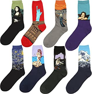 Aufland Cotton Christmas Masterpiece Art Patterned Casual Socks Crew