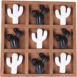 NIKKY HOME Wooden Tic Tac Toe Board Game for Fun - Cactus