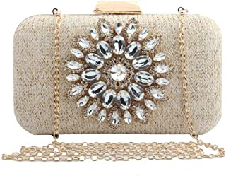 Shoulder Bag Ladies' Evening Bag,Flower Diamond Handbag Shoulder Diagonal Chain Bag for Wedding Bridal Prom Party Gift Handbag Clutch (Color : Beige, Size : 20x12x5cm(8x5x2inch))