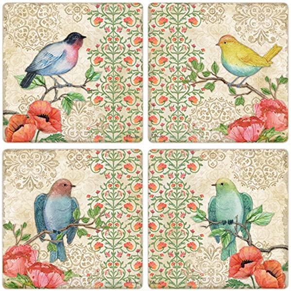 CoasterStone Blossoming Birds Absorbent Coasters Set Of 4 4 1 4 Multicolor