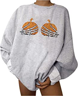 Fenebort Store-AU Womens Pumpkin Skeleton Hand Printing Pullover Sweatshirt Long Sleeve Tops Blouse Fall Winter