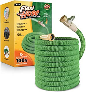 Flexi Hose Lightweight Expandable Garden Hose | Ultimate No-Kink Flexibility - Extra Strength with 3/4 Inch Solid Brass Fittings & Double Latex Core | Rot, Crack, Leak Resistant (100 FT, Green)